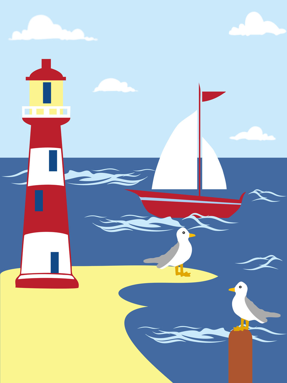 Lighthouse seaside scene