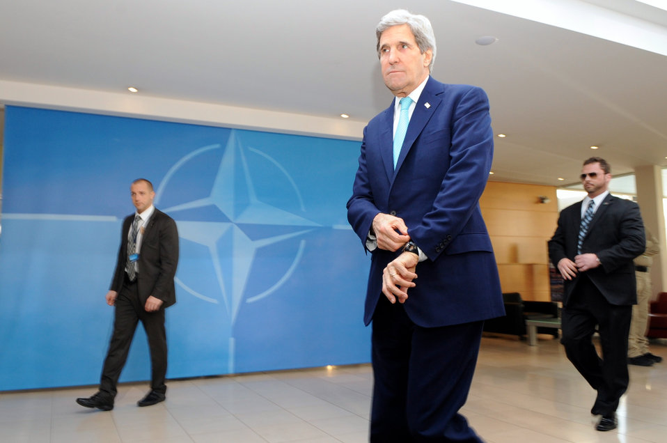 Secretary Kerry Arrives at NATO Headquarters for NATO Ministerial Meetings