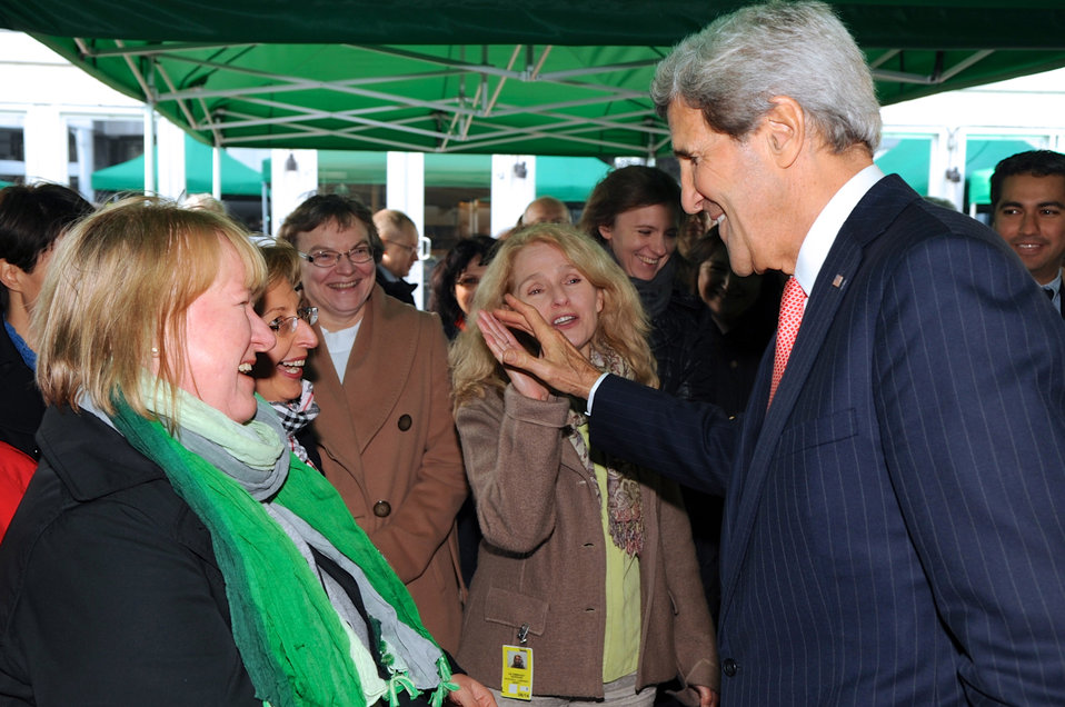 Secretary Kerry Greets Embassy Warsaw Employees