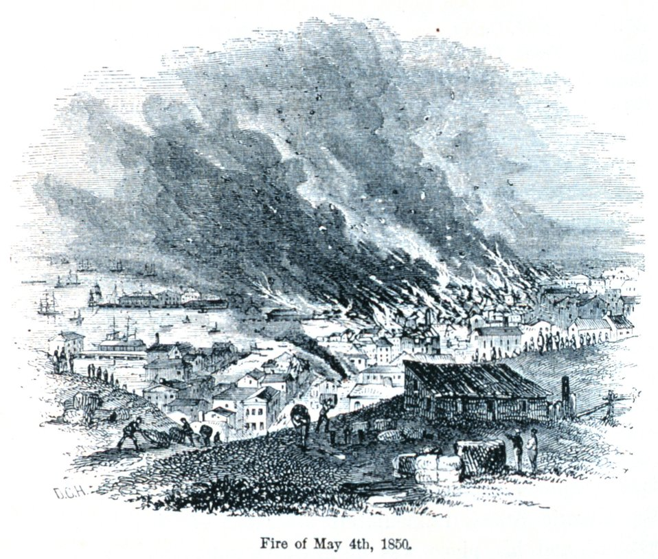 The San Francisco fire of May 4th, 1850. In: 'The Annals of San Francisco'.  Frank Soule, John Gihon, and James Nesbit.  1855.  Page 274.  D. Appleton & Company, New York.  F869.S3.S7 1855.