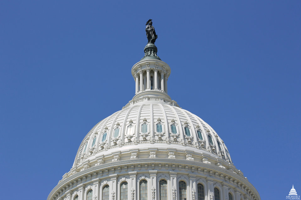 Capitol Dome on Blue Sky day in April