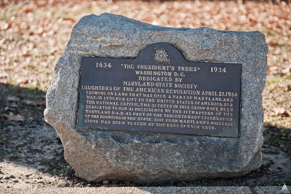 'The President's Trees' Plaque