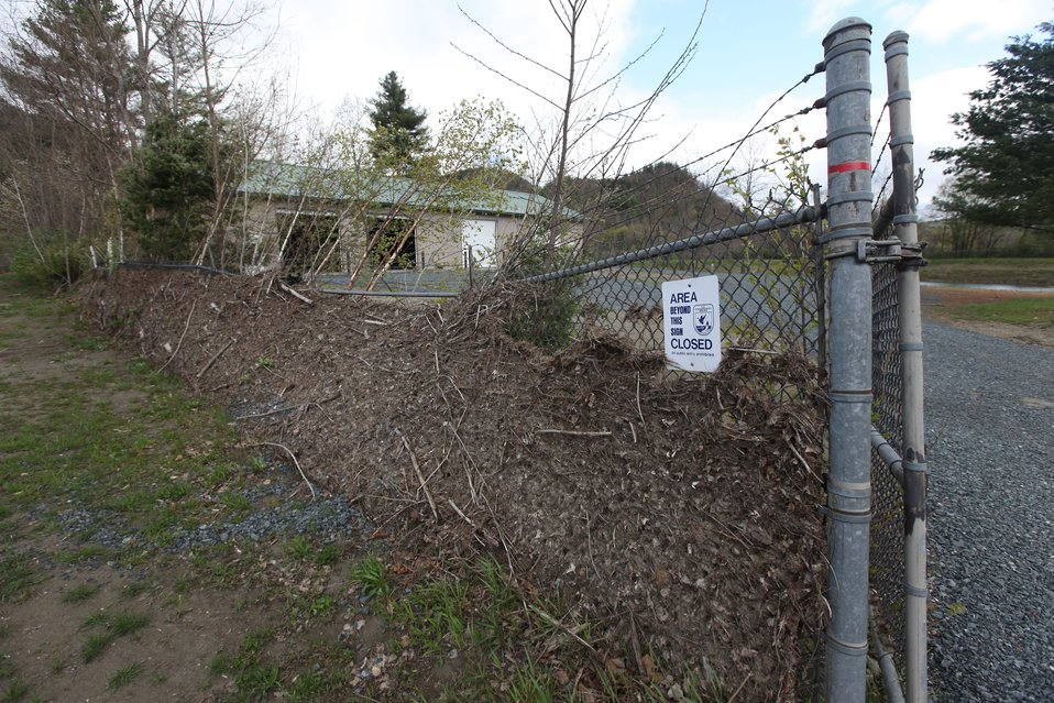 Evidence of flood levels on hatchery fence