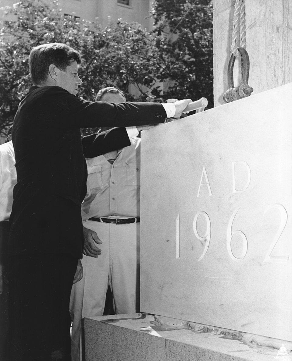 President John F. Kennedy lays Rayburn cornerstone