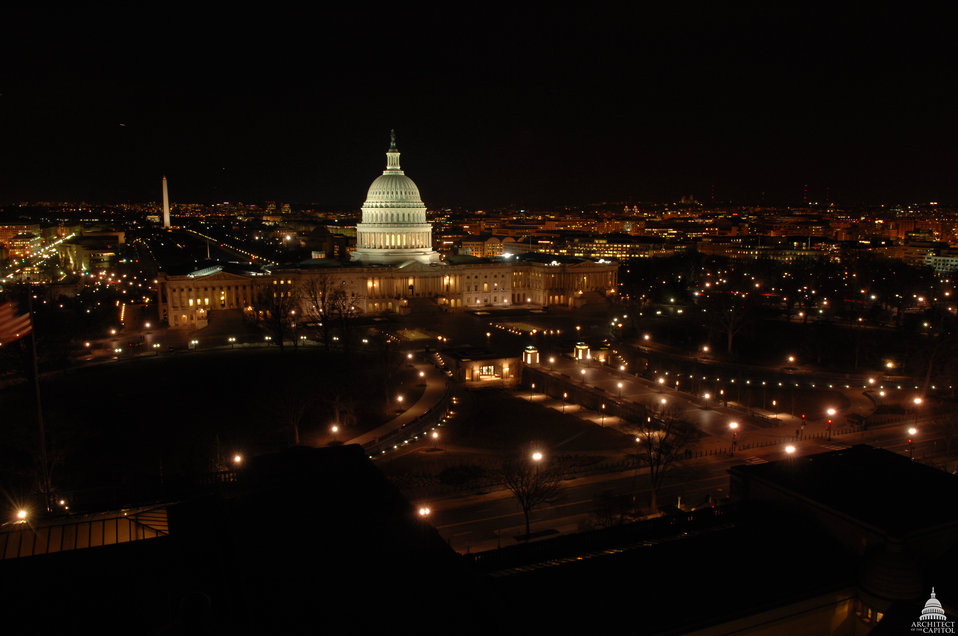 U.S. Capitol East Front at Night