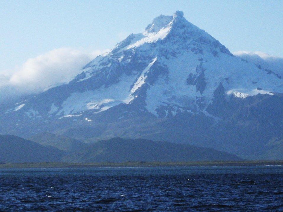 Isanotski Volcano or 'Ragged Jack' on the eastern end of Unimak Island.