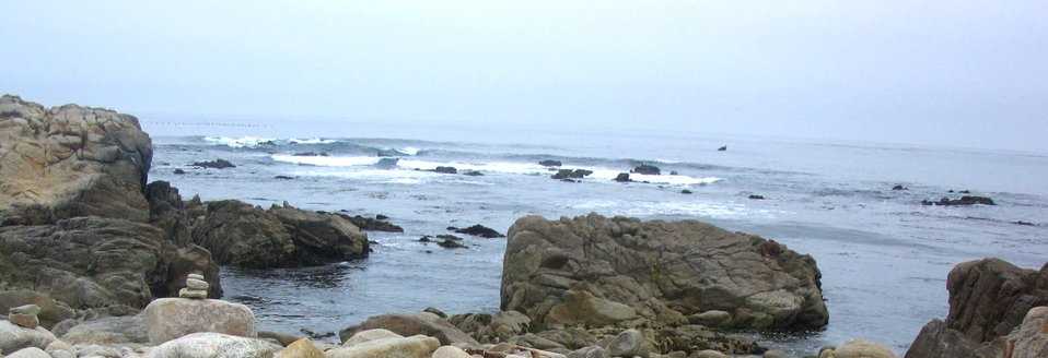 A vista of rock and surf