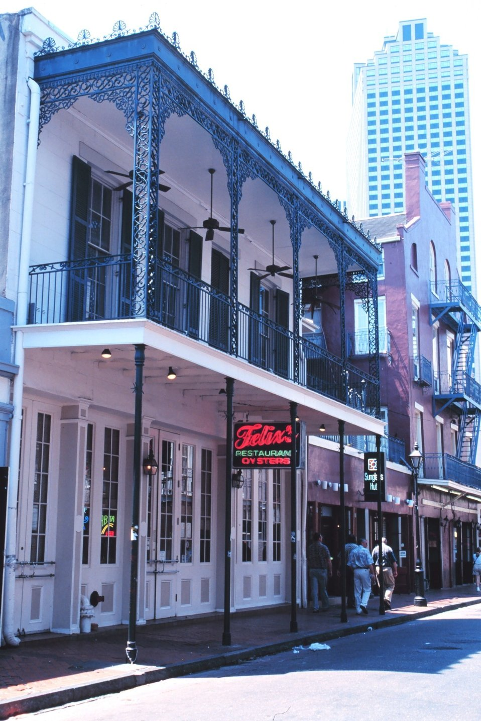 Felix's Restaurant, showing the old French decorative ironwork