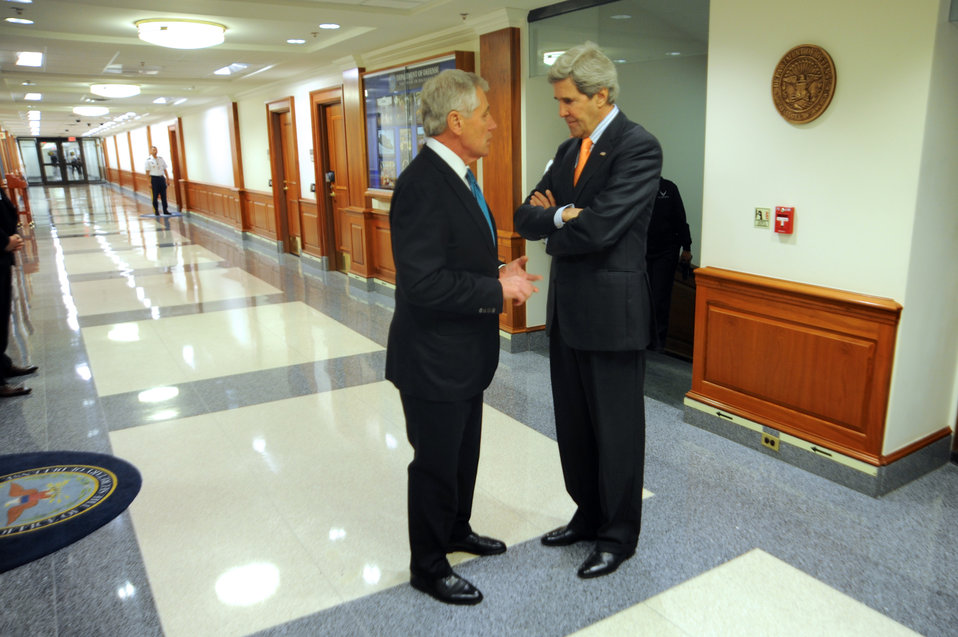 Secretaries Kerry, Hagel Speak Before Pentagon Meeting
