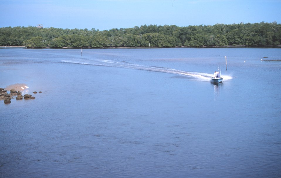 A recreational fisherman cutting a swath through the waterways