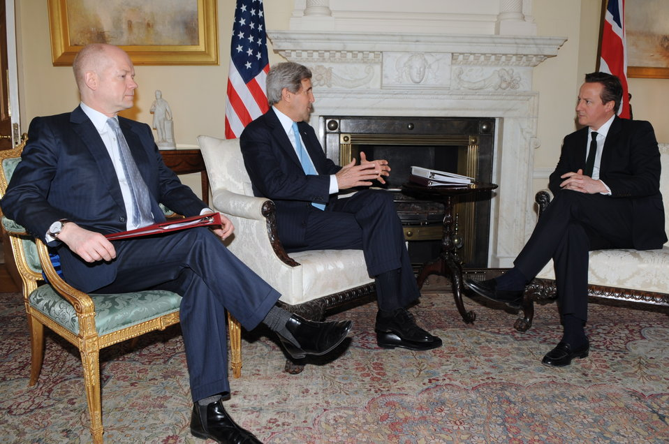 Secretary Kerry Meets With British Prime Minister Cameron, Foreign Secretary Hague
