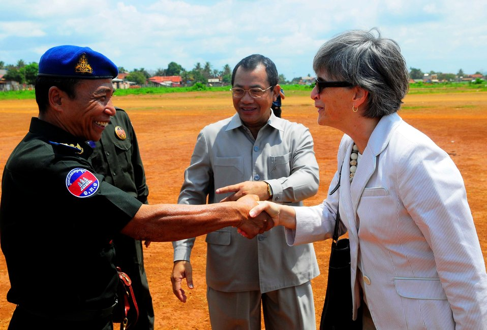 Ambassador Rodley Greets a Cambodian Military Official