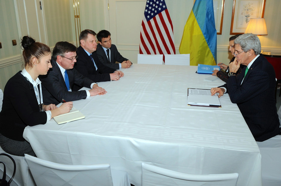 Secretary Kerry Meets With Ukranian Foreign Minister Kozhara at Munich Security Conference