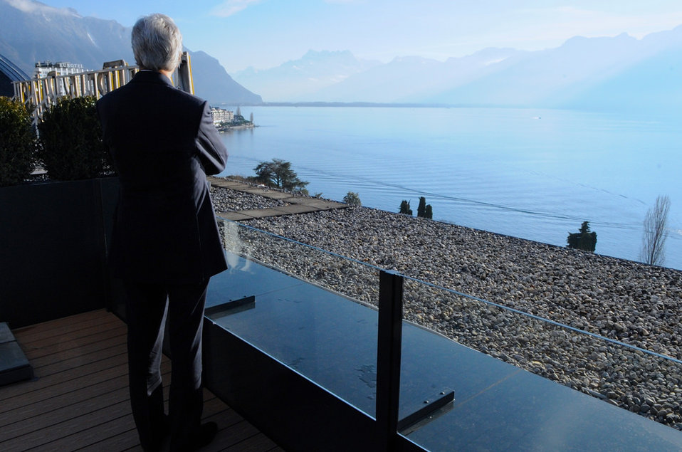 Secretary Kerry Admires Lake Geneva, French Alps During a Break in the Conference