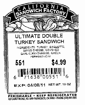 RECALLED - Sandwiches