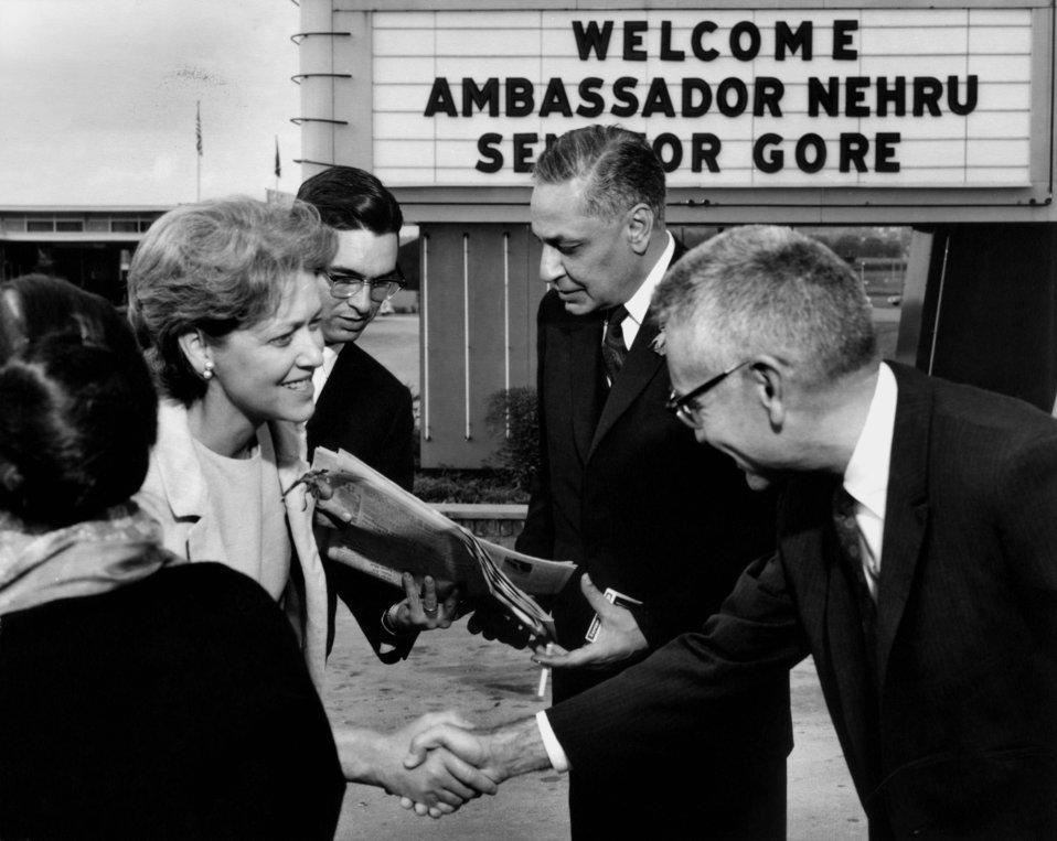 Pauline Gore (wife of Albert Gore Sr.) shakes hands with Dr.Alvin Weinberg as Braj Kumar Ambassador of India Oak Ridge