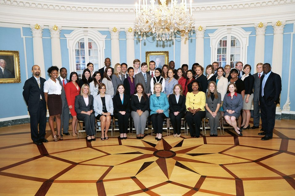 Secretary Clinton Poses for a Photo With Pickering Fellows