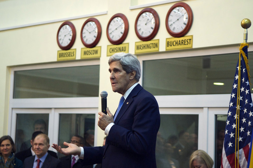 Secretary Kerry Addresses Members of the Embassy Chisinau Staff