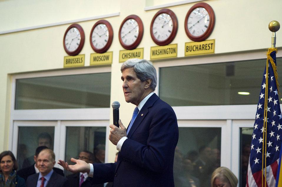 Secretary Kerry Addresses Members of the Embassy Chisinau Staff
