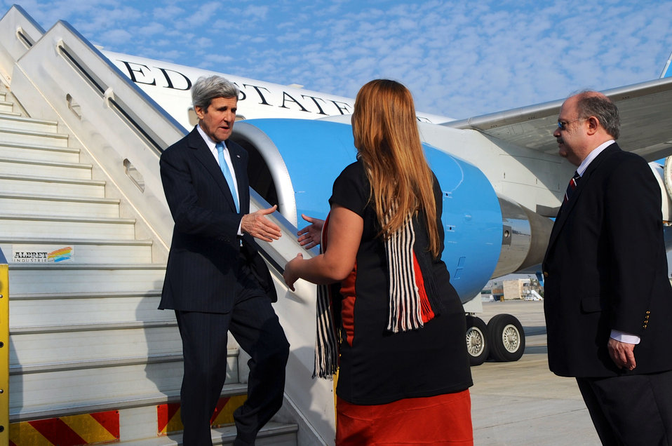 Secretary Kerry is Greeted by Israeli Officials in Tel Aviv