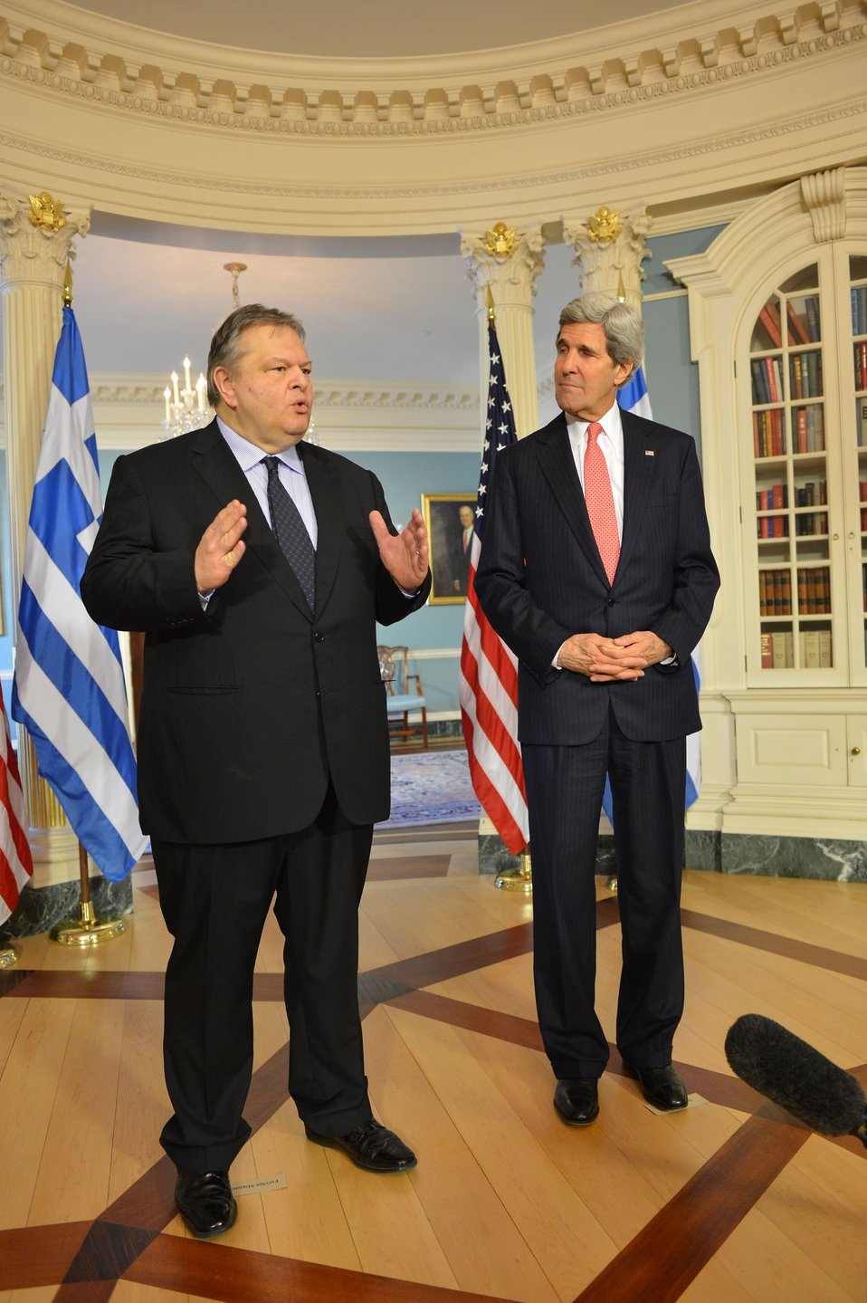 Secretary Kerry and Greek Foreign Minister Venizelos Address Reporters