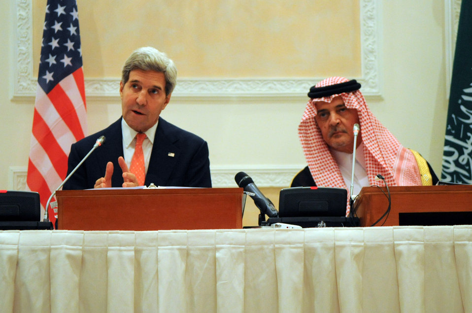 Secretary Kerry Speaks During a News Conference With Saudi Foreign Minister al-Faisal