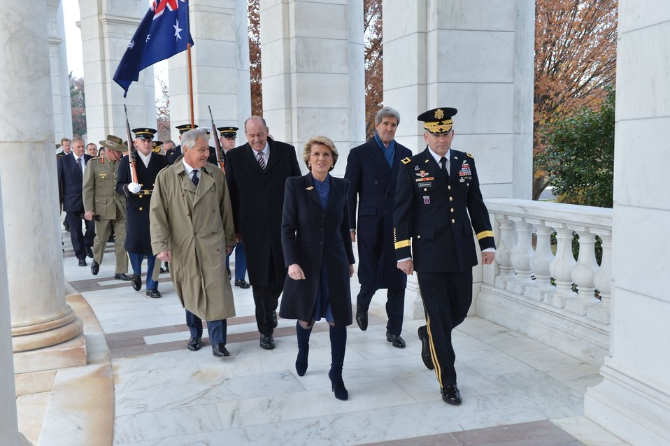 Secretaries Kerry, Hagel and Australian Ministers Bishop, Johnston Walk to the Tomb of the Unknown Soldier