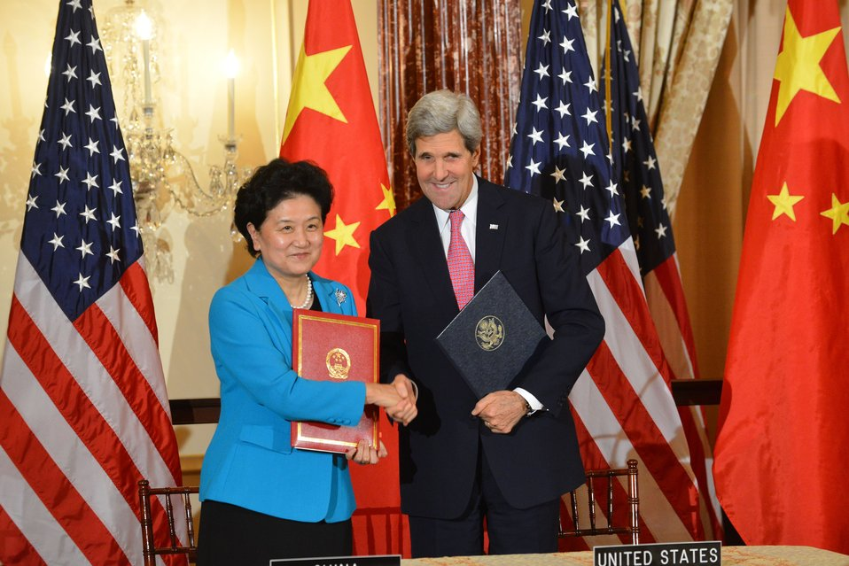Secretary Kerry and Chinese Vice Premier Liu Yandong Shake Hands