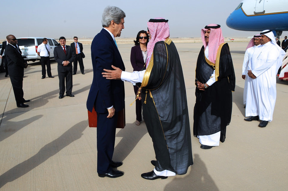 Saudi Protocol Officer Bids Farewell to Secretary Kerry As He Departs for Europe