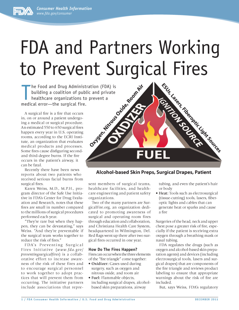 FDA and Partners Working to Stop Surgical Fires