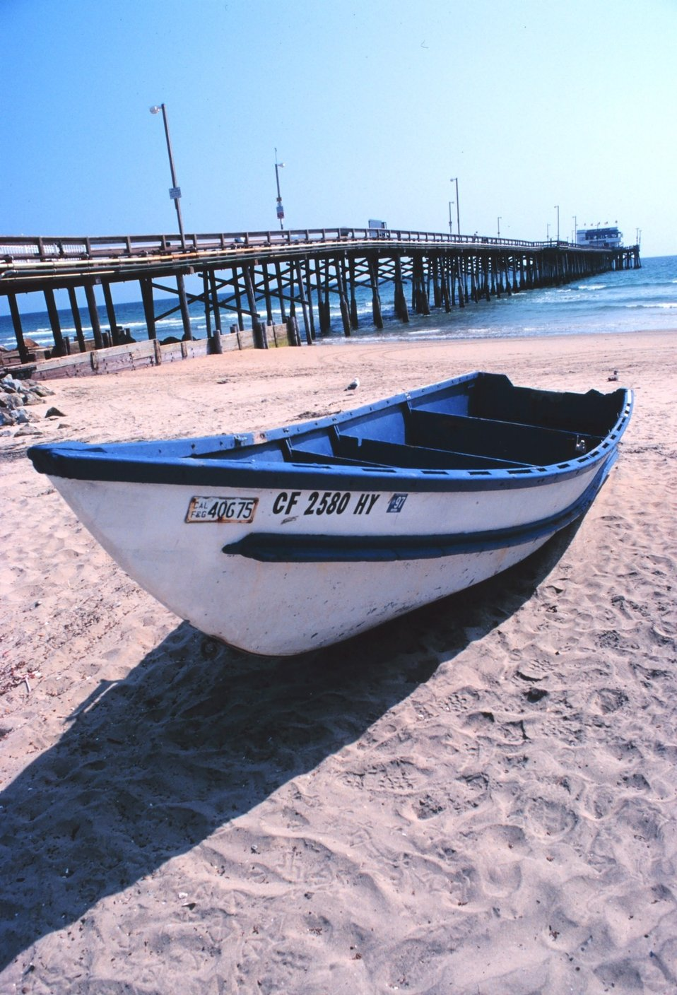 A part of the Newport Beach dory fishing fleet on Newport Beach