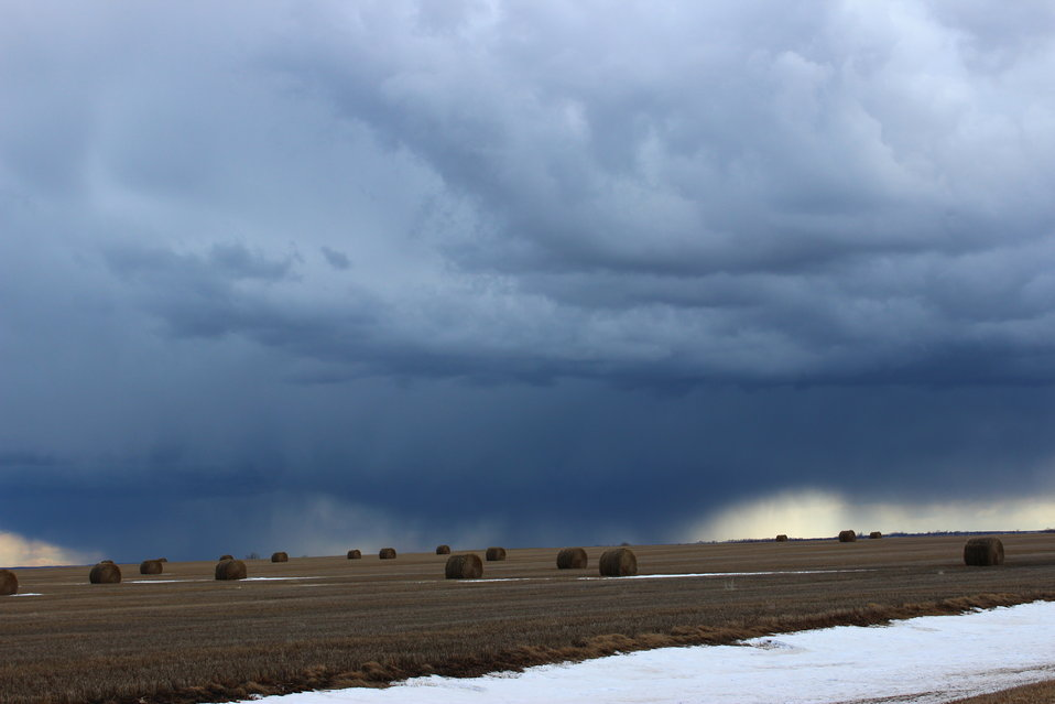 Showers over a Baled Field