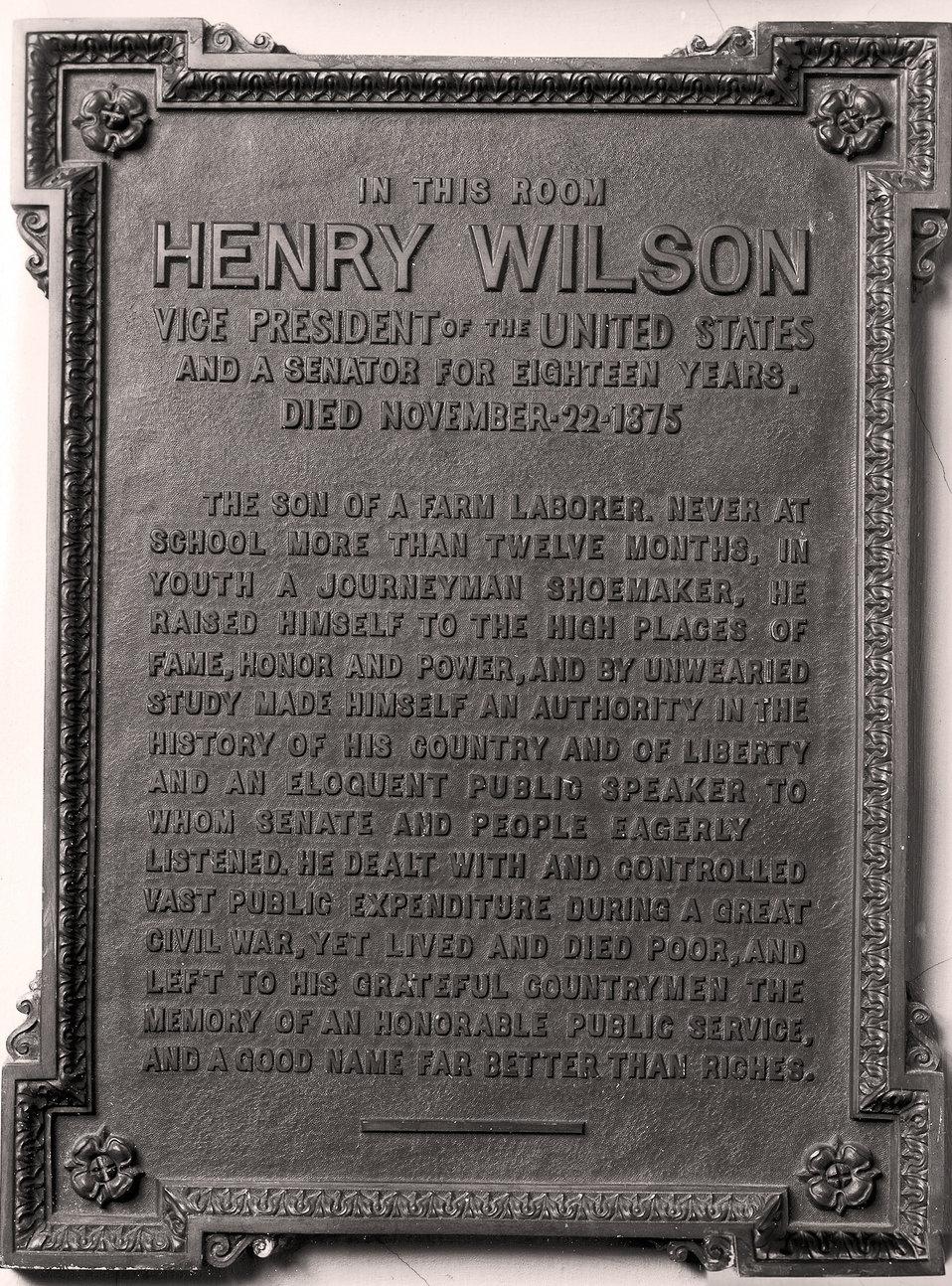 Vice President Henry Wilson Plaque