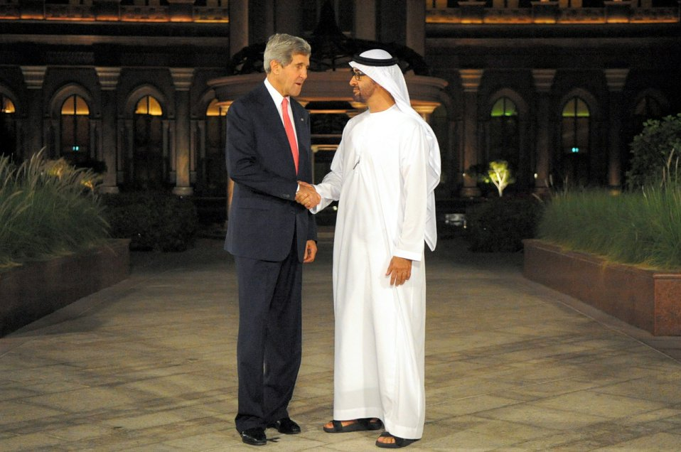 Secretary Kerry is Greeted by Abu Dhabi Crown Prince Mohamed bin Zayed Al Nayhan