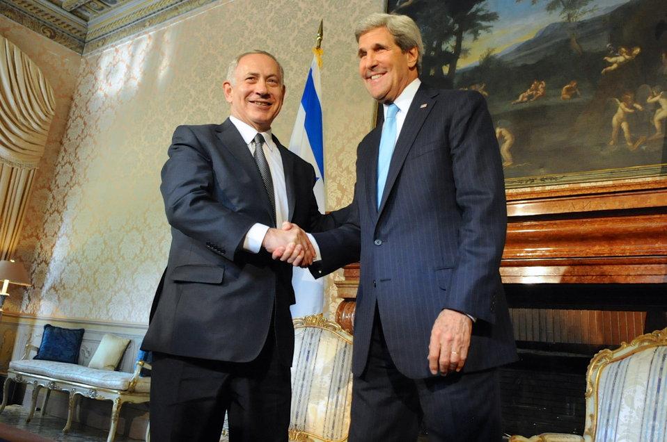 Secretary Kerry Shakes Hands With Israeli Prime Minister Netanyahu