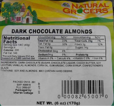 RECALLED – Dark Chocolate Almonds