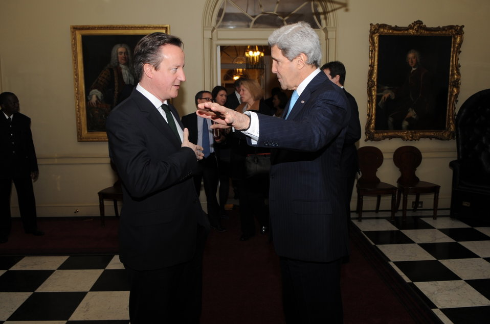 British Prime Minister David Cameron Bids Farewell to Secretary Kerry