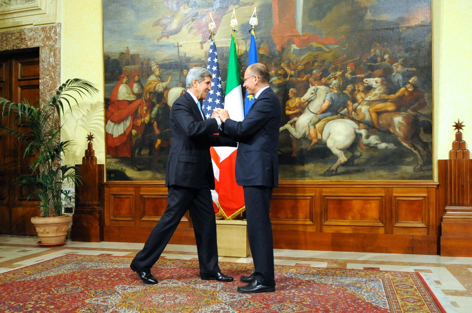 Italian Prime Minister Letta Greets Secretary Kerry