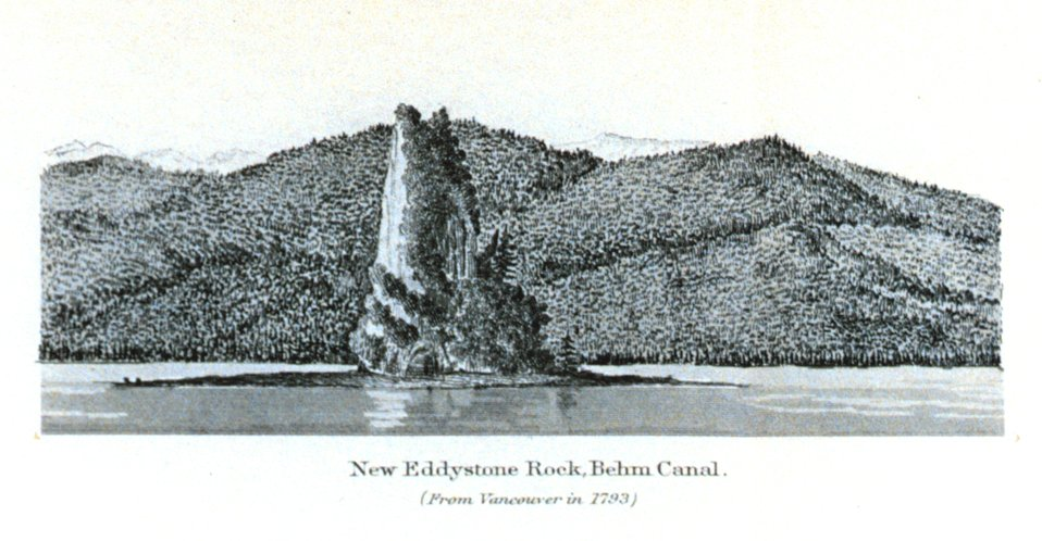 New Eddystone Rock, Behm Canal.  In: Pacific Coast Pilot Alaska Part I 1883.  P. 50.  Library call number VK943 .N3 1883.