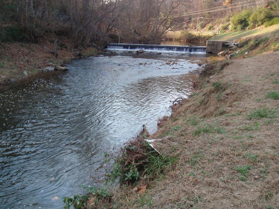 Looking Upstream at Veterans Memorial Park Dam