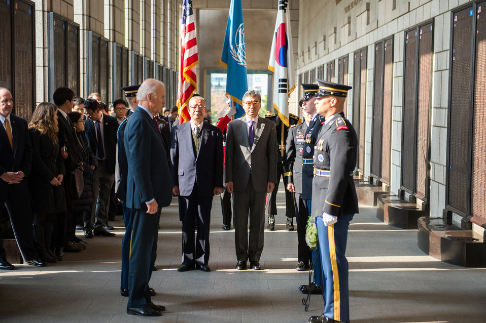 Vice President Biden Honors Military Members at the War Memorial of Korea
