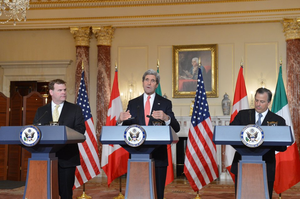 Secretary Kerry, Canadian Foreign Minister Baird, and Mexican Foreign Secretary Meade Address Reporters at the North American Trilateral Ministerial