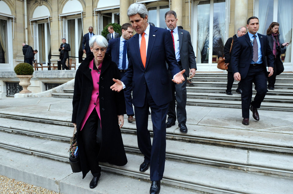 Secretary Kerry Confers With Under Secretary Sherman After Paris Talks