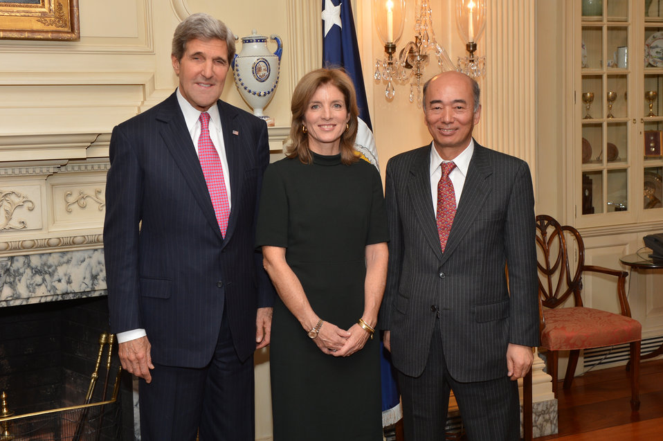 Secretary Kerry, Ambassador Kennedy, and Ambassador Sasae Pose for a Photo