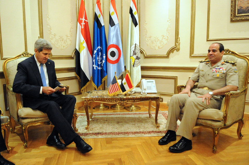 Secretary Kerry Meets With Egyptian Defense Minister General al-Sisi