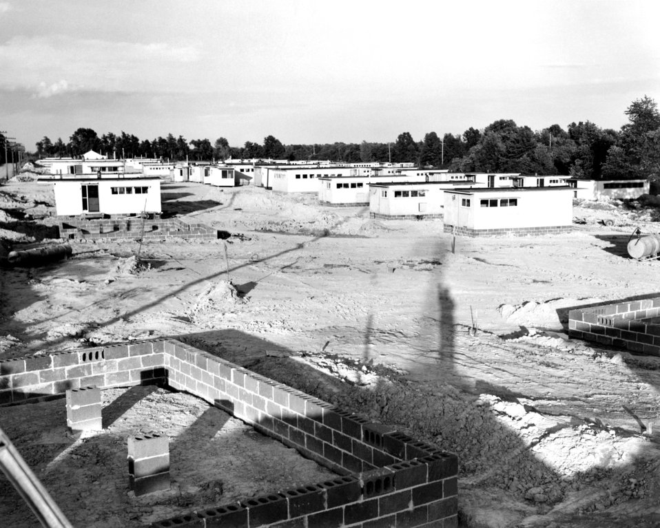 General View of Erection of Pre-Fabs 1951