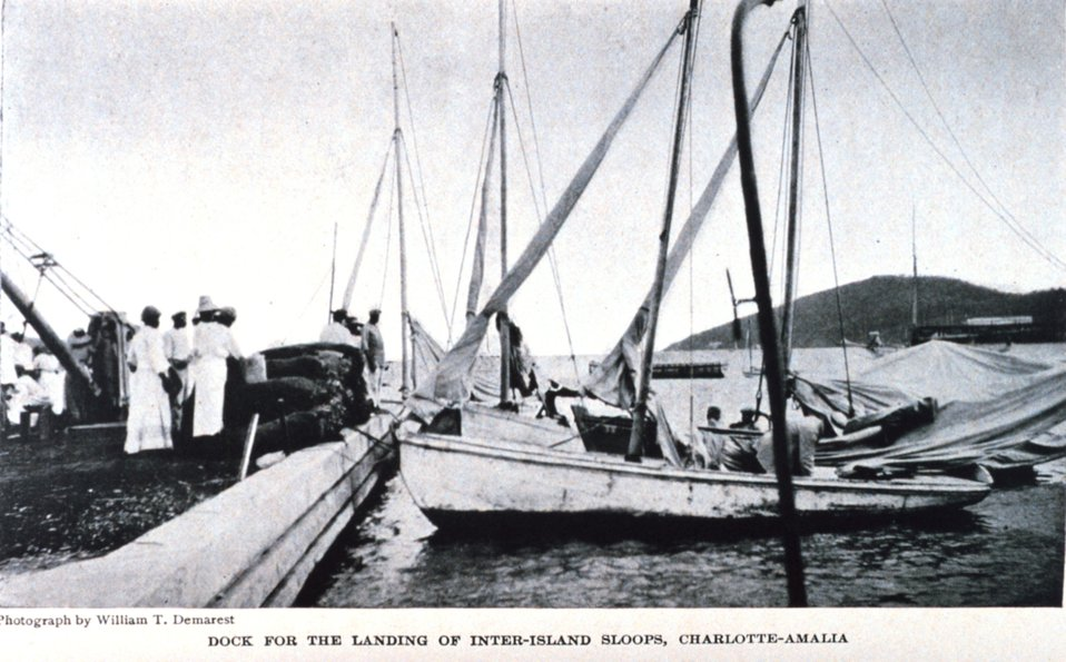 'Dock for the Landing of Inter-Island Sloops Charlotte-Amalia'.  In: 'The Virgin Islands Our New Possessions and the British Islands', by Theodoor De Booy and John T. Faris, 1918.  J. B. Lippincott and Company, Philadelphia.  P. 25.  Library Call Num