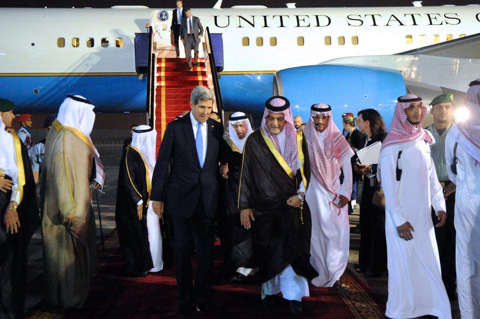 Saudi Foreign Minister al-Faisal Escorts Secretary Kerry