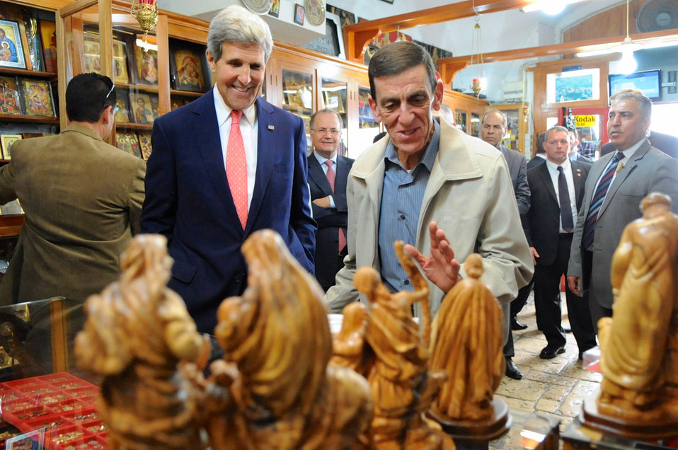 Secretary Kerry Visits a Nativity Store in Bethlehem
