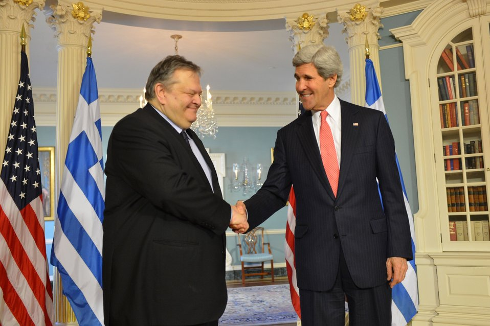 Secretary Kerry and Greek Foreign Minister Venizelos Shake Hands
